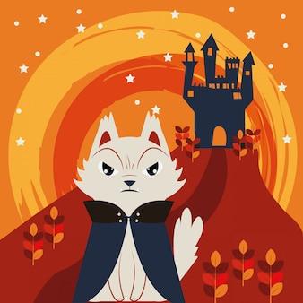 Chat d'halloween déguisé en personnage de dracula