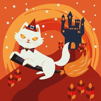 Chat d'halloween déguisé en personnage de sorcière
