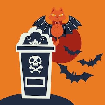 Chat d'halloween déguisé en personnage de vampire
