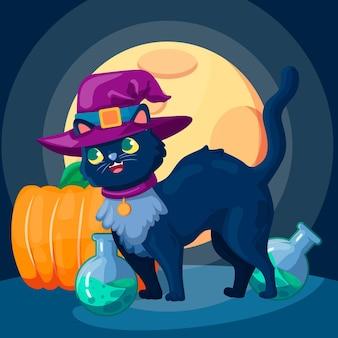 Chat d'halloween design plat