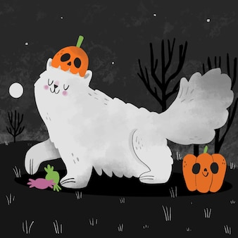 Chat d'halloween dessiné à la main