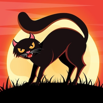 Chat d'halloween effrayant design plat