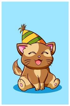 Chat heureux et kawaii portant un chapeau d'anniversaire, illustration de dessin animé animal