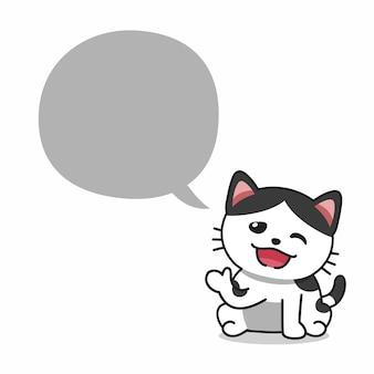 Chat heureux de personnage de dessin animé avec bulle de dialogue