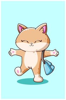 Chat heureux portant une illustration de sac