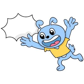Chat heureux qui court autour, art d'illustration vectorielle. doodle icône image kawaii.