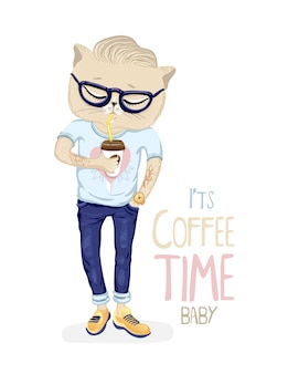 Chat hipster avec une tasse de café. vecteur eps10.