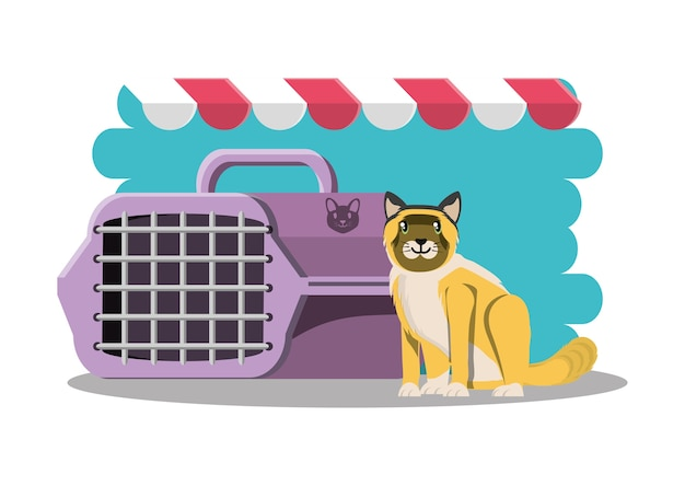 Chat avec l'icône de la cage