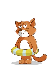 Chat avec illustration de dessin animé de bouée