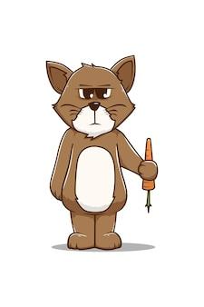 Chat avec illustration de dessin animé de carotte