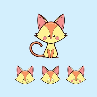 Chat jaune kawaii