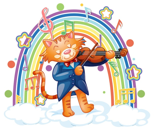 Chat jouant du violon avec des symboles de mélodie sur l'arc-en-ciel