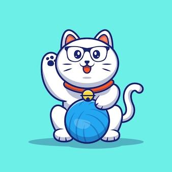 Chat jouant à l'illustration de balle. chat mignon avec pelote de laine.