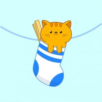 Chat kawaii en chaussette suspendu à une corde à linge. illustration