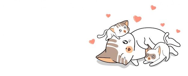 Chat kawaii jouant avec des bébés chats et des mini coeurs