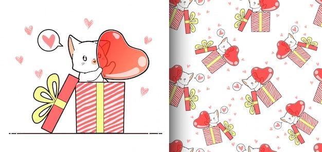 Chat kawaii modèle sans couture à l'intérieur d'une boîte qui porte le grand coeur