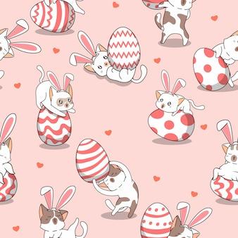 Chat de lapin modèle sans couture au jour de pâques