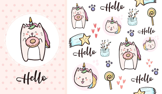 Chat licorne mignon et dessin animé de modèle sans couture beignet sucré