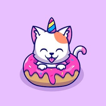 Chat licorne mignon avec personnage de dessin animé de donut. nourriture pour animaux isolée.