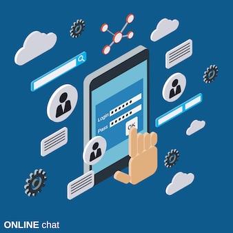 Chat en ligne, forum web isométrique