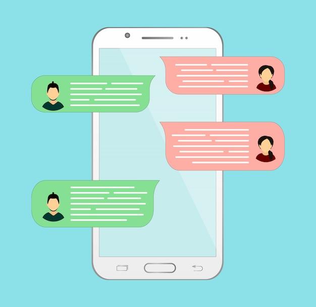Chat en ligne sur le téléphone. correspondance ou dialogue avec une autre personne.
