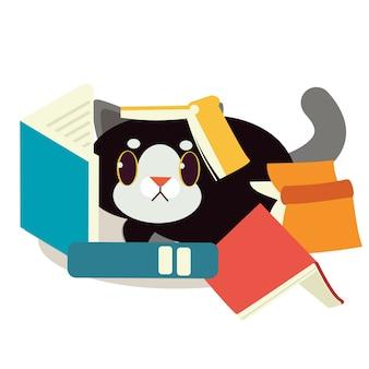Un chat avec un livre