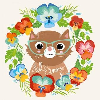 Chat avec des lunettes dans une fleur