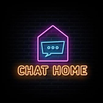 Chat maison enseignes au néon vecteur modèle de conception enseigne au néon