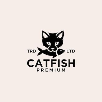 Chat mange du poisson illustration d'icône logo vintage