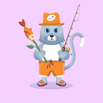 Chat de mascotte de dessin animé mignon pêchant avec des poissons. livre pour enfants animal faune icône concept