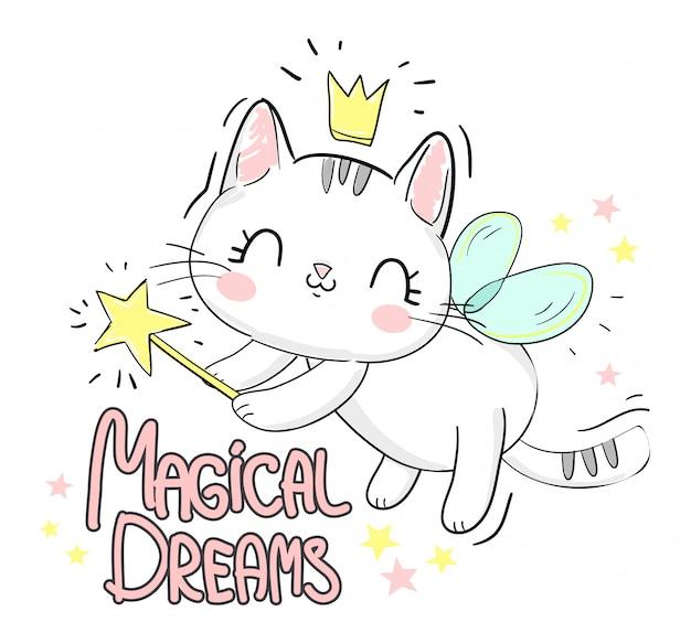 Chat mignon avec des ailes et une baguette. lettres - rêves magiques.
