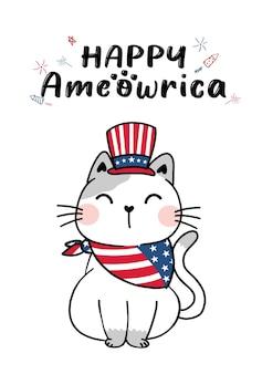 Chat mignon d'ameowrica 4 juillet jour de l'indépendance avec le chapeau de l'oncle sam et le drapeau de l'amérique, chaton d'illustration vectorielle plate doodle de dessin animé