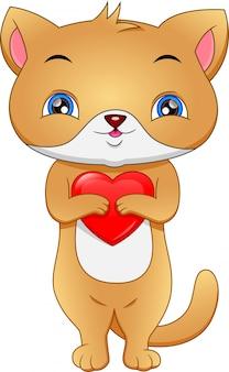 Chat mignon avec amour rouge