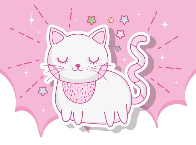 Chat mignon animal dans les nuages avec des étoiles