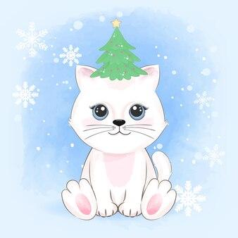 Chat mignon et arbre de noël sur la tête hiver et illustration de noël.