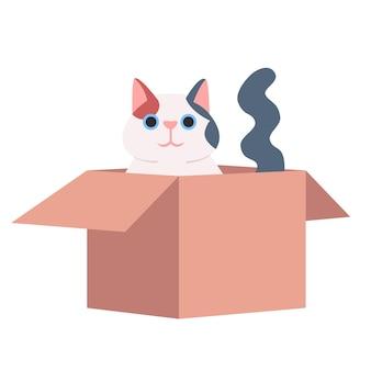 Chat mignon assis dans une boîte en carton illustration vectorielle de couleur rvb semi-plat. adorable animal domestique, personnage de dessin animé isolé chaton espiègle sur fond blanc. animal drôle, minou velu
