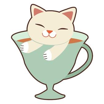 Le chat mignon assis dans la tasse.