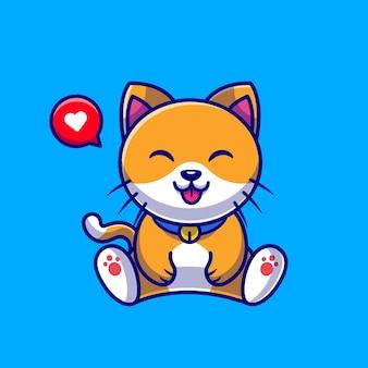 Chat mignon assis dessin animé
