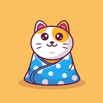 Chat mignon assis portant une couverture cartoon icon illustration. concept d'icône animale isolé. style de bande dessinée plat