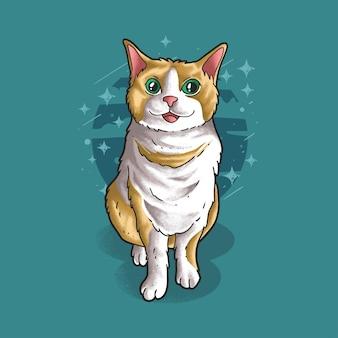 Un chat mignon assis style grunge vector illustration