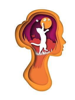 Chat mignon attrapant des papillons à l'intérieur de l'illustration vectorielle de silhouette de tête de femme dans l'art du papier s...