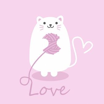 Chat mignon de balise cadeau carrée, carte happy valentin
