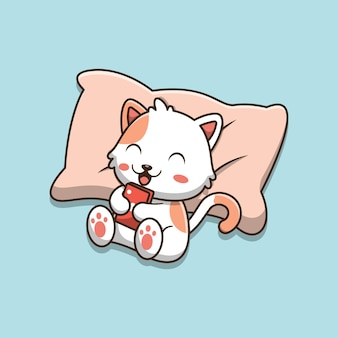 Chat mignon de bande dessinée allongé sur l'oreiller et jouant au téléphone