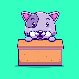 Chat mignon de bande dessinée dans une boîte