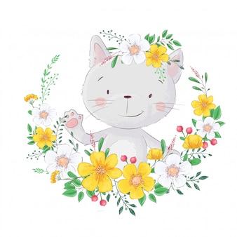 Chat mignon de bande dessinée. dans le cadre de fleurs