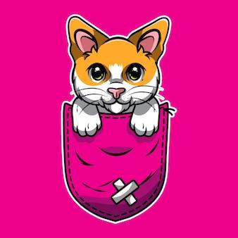 Chat mignon de bande dessinée dans une poche