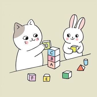 Chat mignon de bande dessinée et lapin jouant.