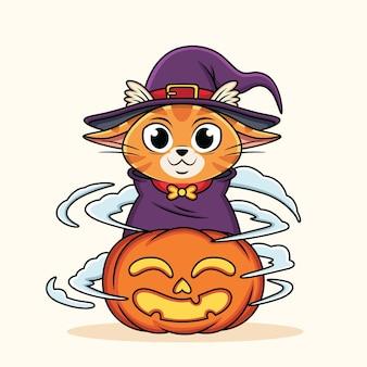Chat mignon de bande dessinée portant un costume de sorcière avec citrouille