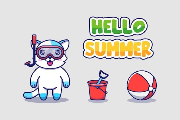 Chat mignon avec bannière de voeux d'été bonjour