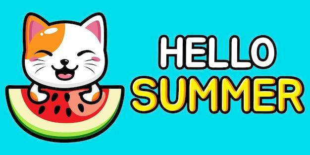 Chat mignon avec bannière de voeux d'été